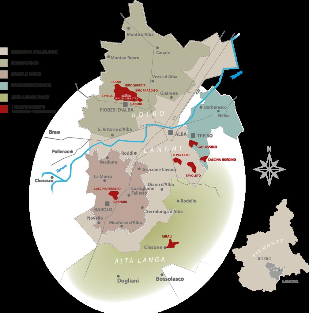 Map of the Tenuta Carretta vineyards